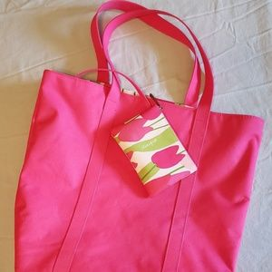 CLINIQUE PINK TOTE WITH ATTACHED COSMETIC BAG